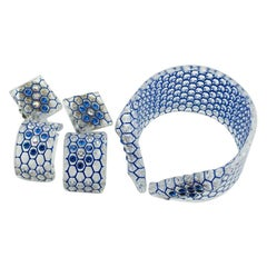 1950s French Haute Couture Honeycomb Lucite Bangle Earrings Set Costume Jewelry