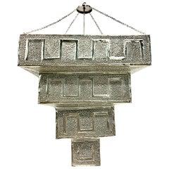 21. Jahrhundert Monumentale Silber Stahl Pendellampe, Marokkanischer Stil