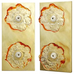 Pair of Flower Sconces / Flush Mounts by Mazzega