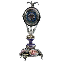 Silver and Viennese Enamel Clock with Eagle by Hermann Bohm