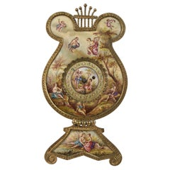 Antique Austrian Viennese Hand Painted Enamel Gilt Metal Lyre Clock