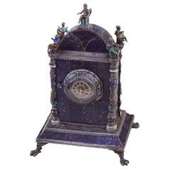 Silver, Enamel, and Lapis Lazuli Table Clock by Hermann Bohm