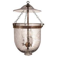 19th Century English Bell Jar Lantern with Grape Vine Etching