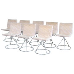 Saporiti Italia Swivel Dining Chairs Model Dania by Salvati e Tresoldi Set of 8