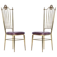Pair of Italian Tall Back Brass Side Chairs with Aubergine Crocodile Leather
