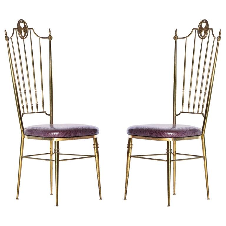 Swell Pair Of Italian Tall Back Brass Side Chairs With Aubergine Crocodile Leather Creativecarmelina Interior Chair Design Creativecarmelinacom