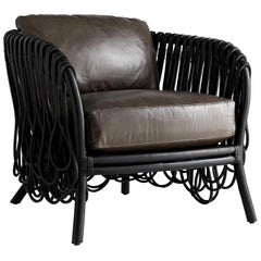 Frou Frou, Contemporary Armchair, Looped Black Rattan Frame, Leather Upholstery