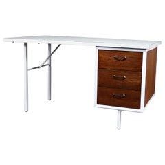 Mid-Century Modern Desk by Robert John Co. Walnut White Steel Frame & Laminate T