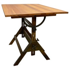 Industrial Oak and Douglas Fir Drafting Table