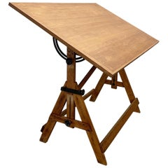 Industrial Oak and Maple Adjustable Drafting Table