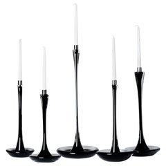 Moshe Bursuker Set of 5 Black Glass Candleholders, 2019