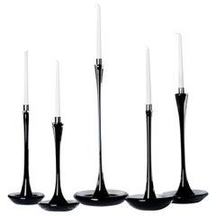 Moshe Bursuker Set of 5 Black Glass Candleholders, 2019