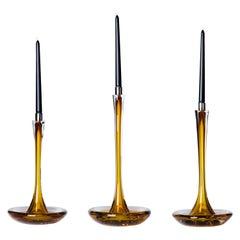 Moshe Bursuker Set of 3 Amber Glass Candleholders, 2019