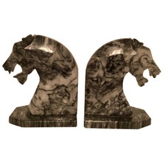 Pair of Marble Tiger Bookends