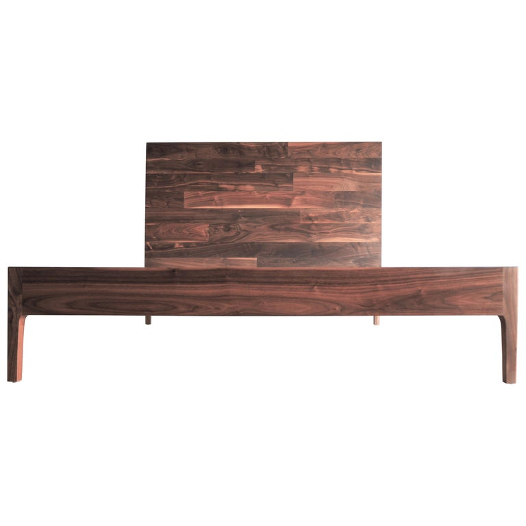 Walnut High Back Bed by MSJ Furniture Studio For Sale