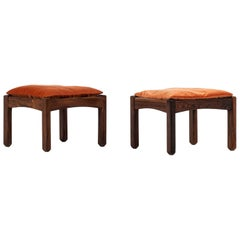 Pair of Stools in Rosewood and Velvet Probably Produced in Brazil