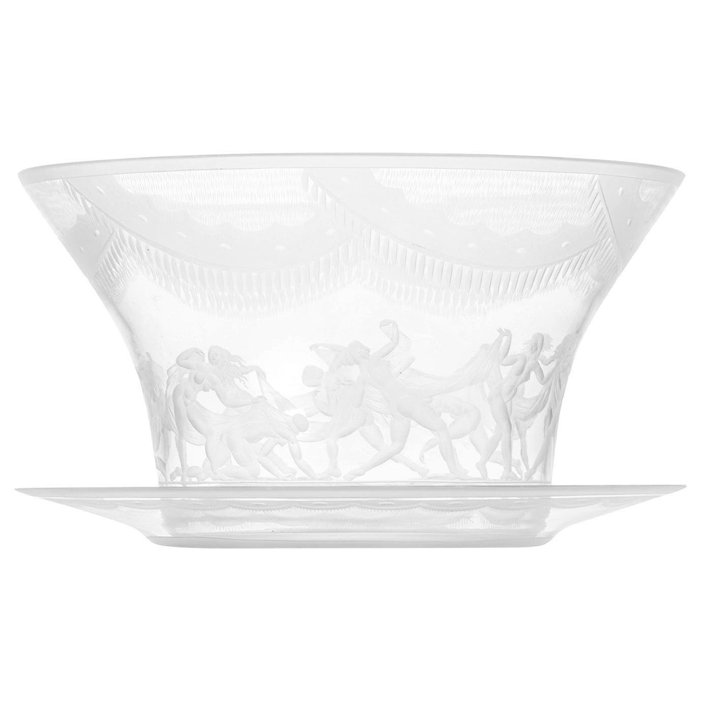 Simon Gate Glass Vase Model Slöjdansen Produced by Orrefors in Sweden
