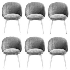 Set of Six Colette Dining Chairs in Polished Nickel and Grey Chenille Upholstery