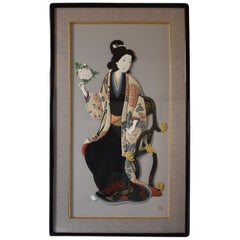 Traditional Japanese Brocade and Silk Handcrafted Decorative Art, circa 2000