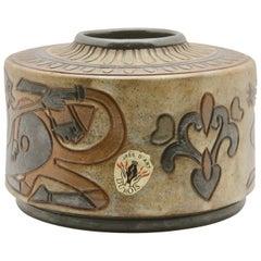 Antoine Dubois: Wheel Vase in Enameled Stoneware with Norman Knights Tableau
