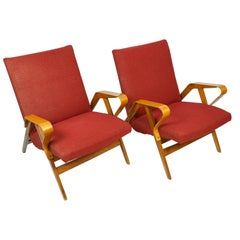 Pair of Red Mid-Century Modern Armchairs by Tatra, 1960s