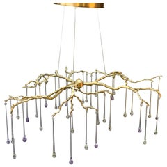 New Chandelier Pendant Lamp in Brass with Art Glass Drops