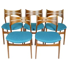 Set of Blue Teak Chairs by Erik Buch for Christiansen