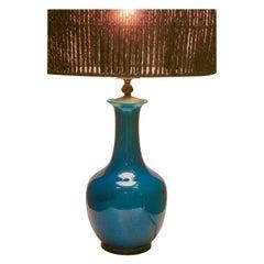 Turquoise Glazed Chinese Ceramic Table Lamp with Crackle Glaze