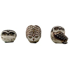 Gustavsberg Studio Hand, Edward Lindahl, 3 Owls in Ceramics