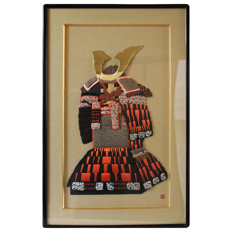 Traditional Japanese Large Handcrafted Brocade Silk Decorative Art, circa 2000 For Sale