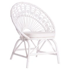 White Rattan and Wicker Peacock Armchair