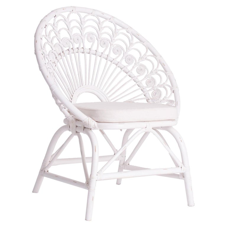 White Rattan and Wicker Peacock Armchair For Sale