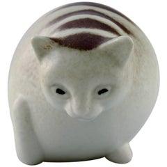 Gösta Grähs for Rörstrand, Rare Cat in Ceramics