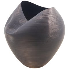 Large Black Collapsed Form, Vase, Interior Sculpture or Vessel, Objet D'Art