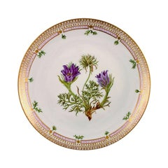 Porcelain Plate in Flora Danica Style High-Quality Hand Painted