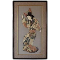 Large Traditional Japanese Brocade Silk Handcrafted Decorative Art, circa 2000
