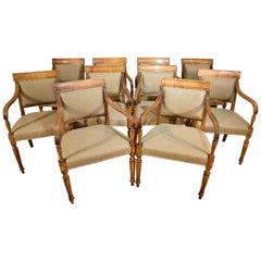 Excellent Set of Ten Satin Birch Armchairs