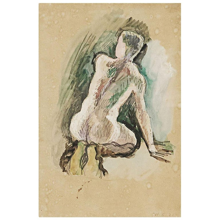 "William Scharff Modernist Painting, ""Nude Back Turned Man"" For Sale"