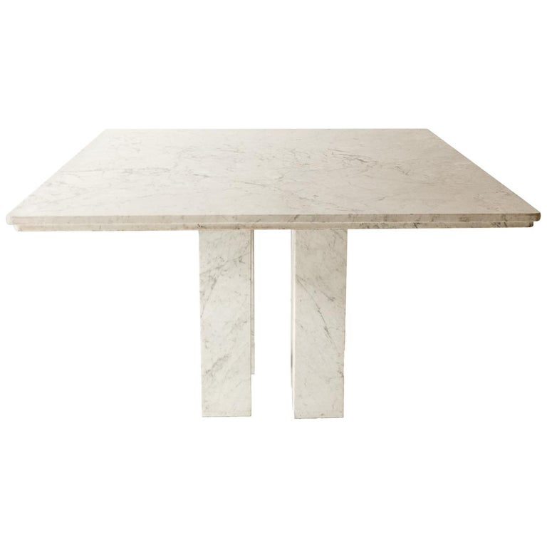 Square Italian Dining Table in Carrara Marble with Four Massive Columns For Sale