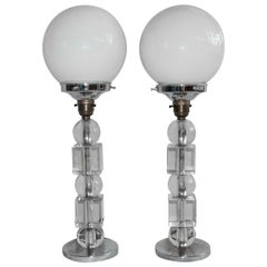 Pair of Art Deco Table Lamps Bauhaus Style Chrome and Perspex, Circa 1930s