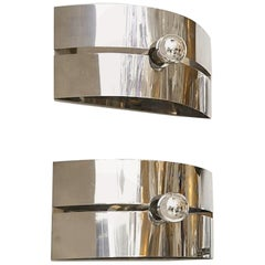 Pair of Mid-Century Modern Chrome Sconces or Flush Mounts, Sciolari Style, 1970s
