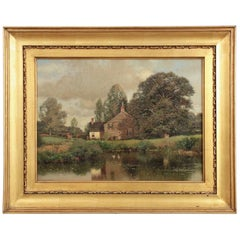 'Cottage by Lake' Landscape Painting by Henry Pember Smith