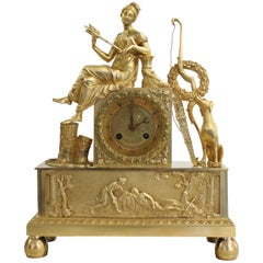 French Restoration Clock Allegory of Hunt