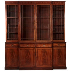 George III Mahogany Breakfront Antique China Cabinet Bookcase, England