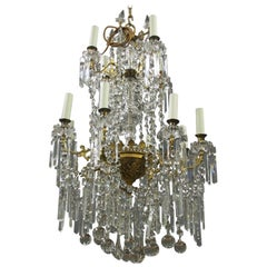 Glass and Gilded Brass 2-Tier Chandelier
