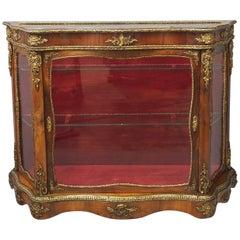 Victorian Yew Vitrine or Display Cabinet