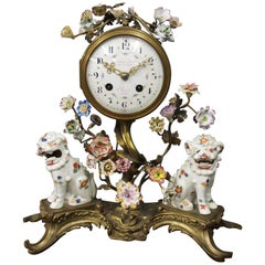 French Chinoiserie Brass and Porcelain Mantel Clock