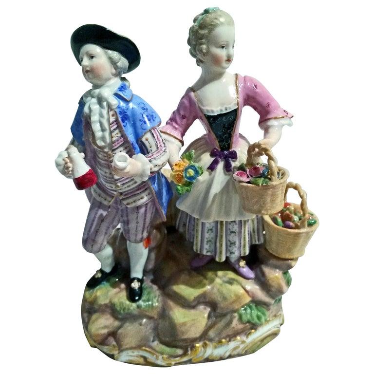 Meissen Figurines Cherubs Wine Growers Model C 60 by Acier Made circa 1870 For Sale