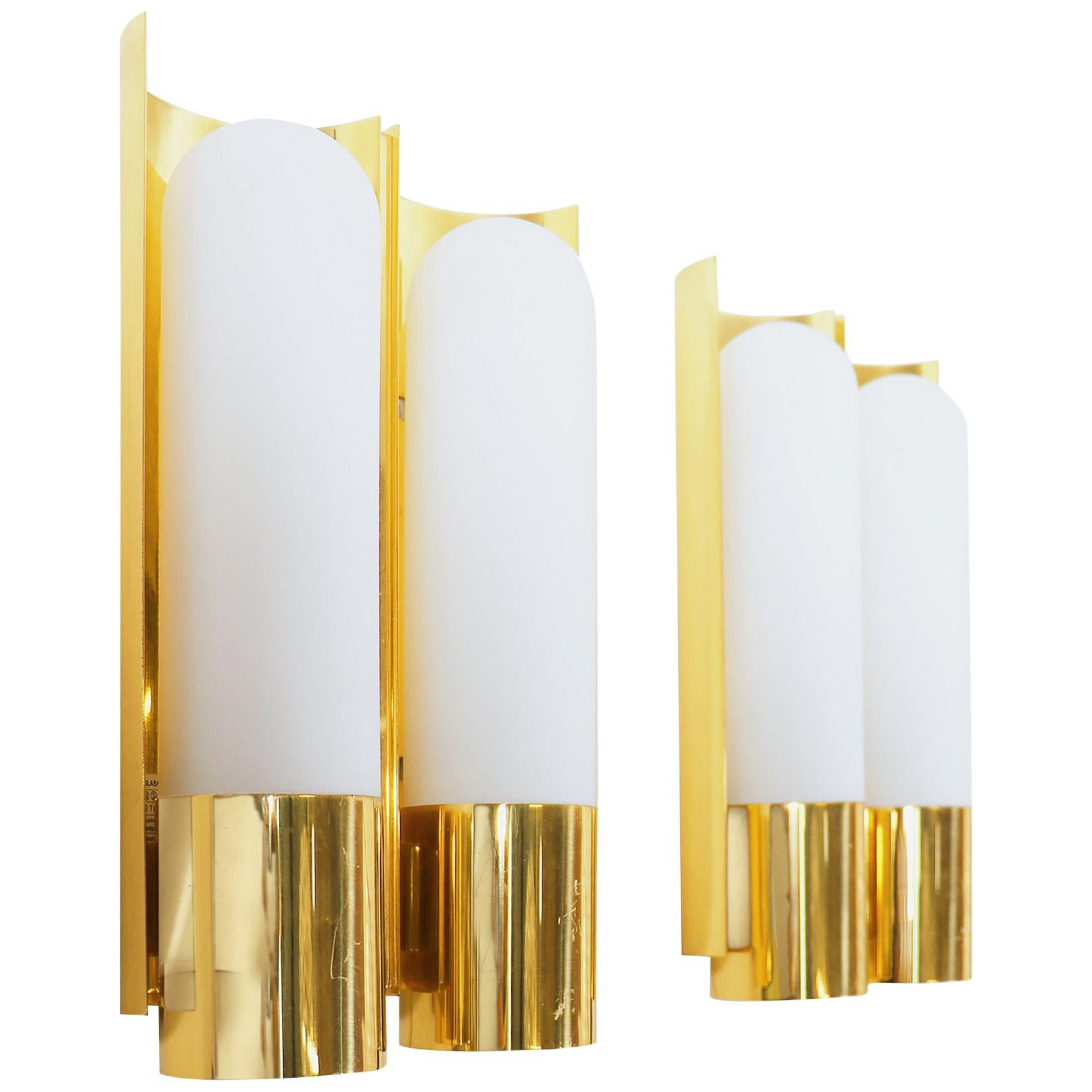 1970 Germany Limburg Pair of Double Wall Lights Opaline Glass & Brass