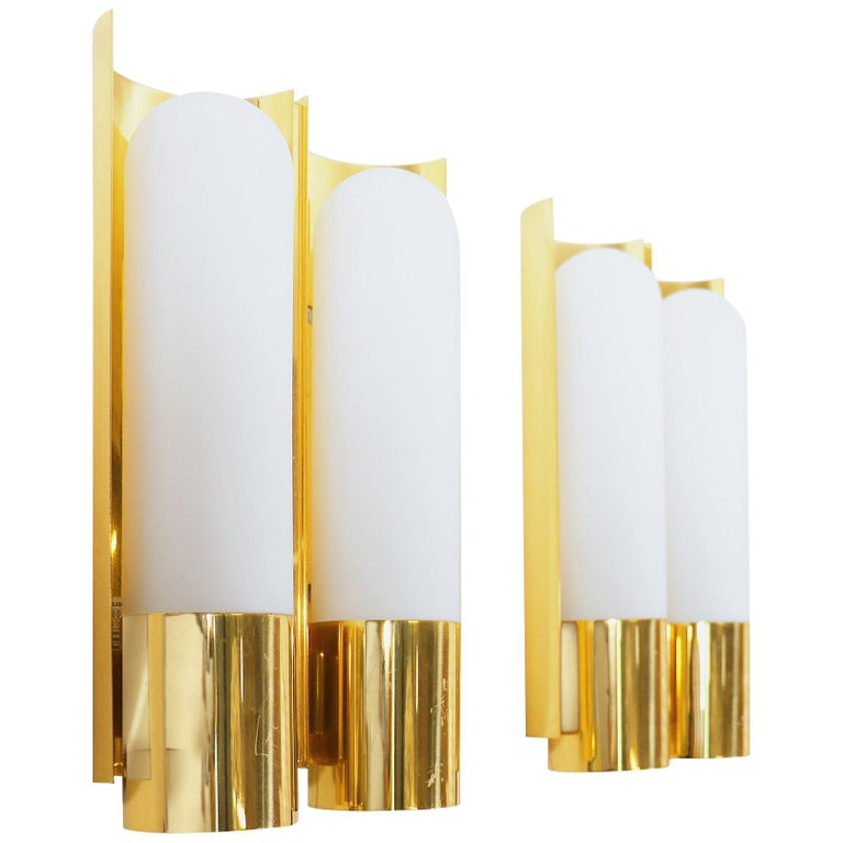 Pair of Glashutte Limburg Wall Sconces Brass & Opaline Glass, Germany, 1970s For Sale
